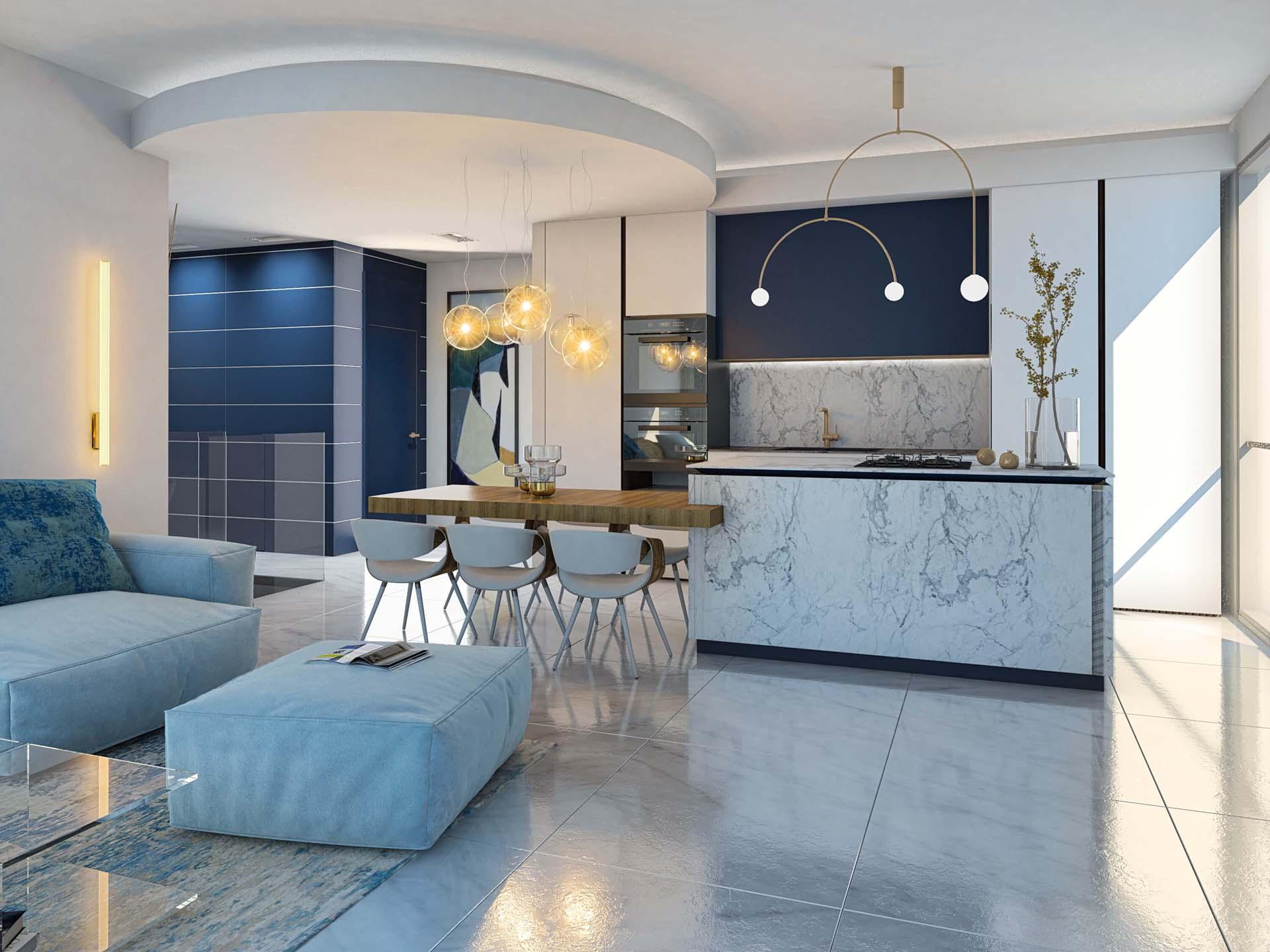 דירה 2 מבט לכיוון המטבח